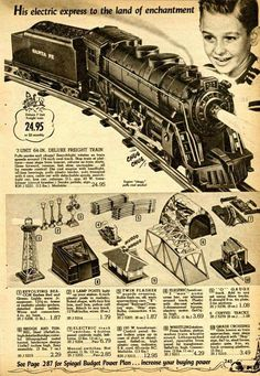1955 Spiegel Christmas Catalog Page 245 Vintage Advertisements, Vintage Ads, Vintage Photos, Lionel Train Sets, Christmas Train, Holiday Train, Christmas Time, Train Platform, Train Posters