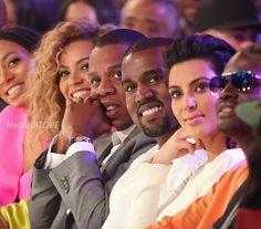 Solange Beyonce Jayz Kanye and Kim Kardashian at the 2012 BET Awards copy