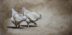 2 Chicken in Oil paint Oil, Watercolor, Fine Art, Chicken, Painting, Animals, Pen And Wash, Watercolor Painting, Animales