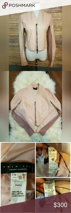 """TWIN SET SIMONA BARBIERI Blush Moto Leather Gorgeous and so hard to find! Beautiful condition with no piling, Twin-Set Simona Barbieri Blush Pink Leather Biker Moto Style Overcoat Zip Up Jacket with Knit Detail Strip Under Arms.   Made in Italy.   Size Medium   Measurements - Top of should across 16"""",  Pit to pit 15"""", Top of back to bottom 21"""", Pit to bottom 12 1/2"""", Bottom flat across 17 1/2"""", arm length from pit to end 23"""" Twin-Set Jackets & Coats"""