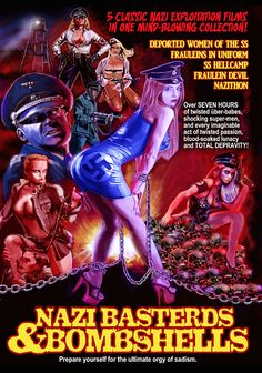 """The vicious Frau Bombshell (Michelle """"Bombshell"""" McGee) presents an outrageous collection of Nazi-exploitation film clips culled from some of the most controversial grindhouse films ever produced. 1980s Horror Movies, Cult Movies, 1976 Movies, The Night Porter, Charles Band, The Stranger Movie, Pulp Fiction Book, Dvd Set, Destruction"""