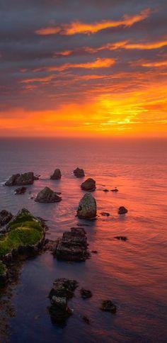 Beautiful sunrise at Nugget Point, Otago Coast, NZ