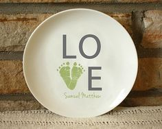 Love Plate - Ceramic plate offered in 3 sizes. Custom made with your child's actual prints! Send us prints captured on paper, and we do the rest. Check out our Ink-less Print Kit and capture your prints. All keepsake kiln fired and created to last forever!