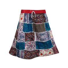 Mogulinterior Hippie Gypsy Skirt-Vintage Blue Patchwork Peasant Summer Short Skirts