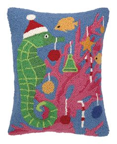 Seahorse Christmas Hook Wool Throw Pillow
