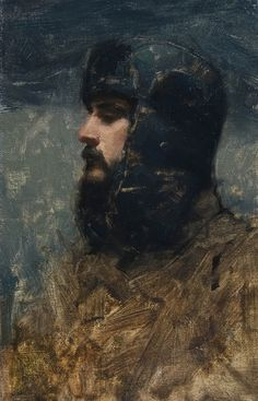 Self portrait, oil on panel 2011 by Aaron Westerberg