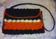 crochet borsa di lana, tracolla in pelle