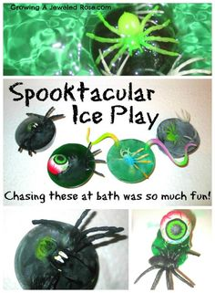 Freeze fun Halloween surprises in ice and let little ones discover them as the ice melts at bath time.  Bonus- the bath water turns colors! Spooktacular FUN!