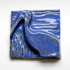 Ibis Bird Tile - 4 inch Blue Bird Florida Wildlife Marshland Bird Lover Gift