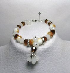 """Item 1363a - """"Swarovski Caramel Delight"""" Swarovski Topaz and White Opal Crystals, White Opal Tear Drop Crystals, Glass Caramel Glass and ChainMail Bracelet $34 + $4 S&H. (SEE MATCHING NECKLACE) Visit all my BEAUTIFUL jewelry pages, just follow the link: https://www.facebook.com/linda.foust.9?sk=photos..."""