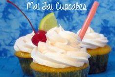 Mai Tai Cupcakes - an alcoholic version including a non-alcohol adaptation for children Beach Cupcakes, Fun Cupcakes, Cupcake Cakes, Alcohol Infused Cupcakes, Alcoholic Cupcakes, Cupcake Flavors, Cupcake Recipes, Hawaiian Drinks, Yummy Treats