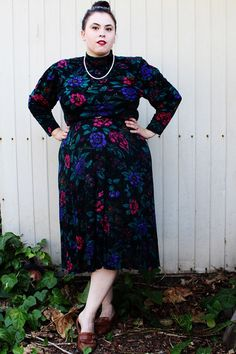 Plus Size  Vintage Floral Sweater Dress Size 16 by TheCurvyElle, $40.00