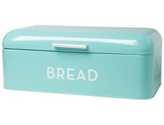 This sleek Turquoise Blue Bread Bin is the perfect storage solution for bread, buns, baguettes and bagels alike! The lid swings up easily and small holes at the back allow air to circulate. Thanks ...
