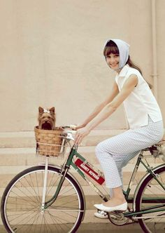 Audrey Hepburn. I'm working towards becoming this on the weekends. I have the bike w/basket. I just need a DOG, Erik?