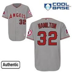 Men s Los Angeles Angels of Anaheim Authentic Josh Hamilton 2013 Road Gray  Cool Base Jersey for 44b1fd852
