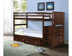 Mission Stairway Bunk Bed Cappuccino with FREE Drawers or Trundle Bed With Underbed, Bunk Beds With Drawers, Under Bed Drawers, Bunk Beds With Storage, Bunk Bed With Trundle, Bunk Beds With Stairs, Cool Bunk Beds, Twin Bunk Beds, Kids Bunk Beds