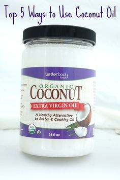 Top 5 Ways to Use Coconut Oil ~ coconut oil hair care, coconut oil lotion, coconut oil cooking and baking, coconut oil deodorant, coconut oil makeup remover