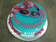 Konfirmasjonskake med svømme-tema  {Bakemagi.no} Birthday Cake, Desserts, Food, Tailgate Desserts, Deserts, Birthday Cakes, Essen, Postres, Meals