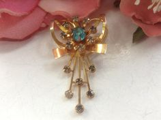 Rhinestone Floral Spray Pendant Pin Ribbon Heart Goldtone Aqua Blue Art Deco Crystal Romantic Floral Bridal Mother's DayVintage Jewelry Gift on Etsy, $22.00