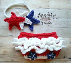 Patriotic Headband and Ruffle Diaper Cover by Whimsystitchbysarah, $28.00