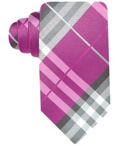 $24, Hot Pink Plaid Tie: Geoffrey Beene Pierre Plaid Tie. Sold by Macy's. Click for more info: http://lookastic.com/men/shop_items/83225/redirect