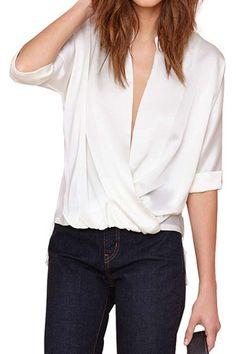 abaday   Draped Collar Asymmetric White Chiffon Blouse, The Latest Street Fashion