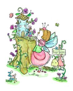 Two little fairies deep in conversation about bluebirds and morning glories.    Personalize this print for your own little fairy...  Just send