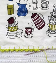 one sheepish girl: Adding a Crochet Edge to a Tea Towel - Nice and simple with pretty photos :)