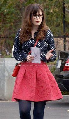 WornOnTV: Jess's navy polka dot shirt and red skirt on New ...