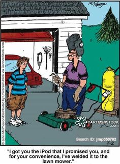 Lawn Mower funny cartoons from CartoonStock directory - the world's largest on-line collection of cartoons and comics. Welding Memes, Welding Funny, Welding Art, Funny As Hell, The Funny, Funny Shit, Funny Cartoons, Funny Comics, Funny Images