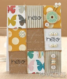 Patchwork Hello Card by @Teri Anderson