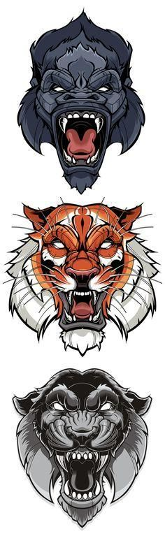 Tiger & Gorilla Vector | Sweyda, Typography, type, custom lettering, hand lettering, vector, vector illustration, action sports