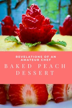 Baked Peach Dessert with Custard Baked Apple Dessert, Apple Desserts, Delicious Desserts, Baked Peach, Yummy Ice Cream, Canned Peaches, Cook Up A Storm, Baking Tins, Baked Apples