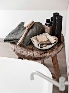 random inspirations | (my) unfinished home bathroom styling wooden stool