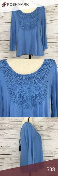 "Cable & Gauge Crochet Detail 3/4 Sleeve Blouse New Pretty blue, loose and stretchy blouse with a crochet detail on the front. . Bust: 39""; Length in the back from the shoulder: 24"".  Measurements are approximate. Smoke free home. 🌺Thanks for shopping my closet !🌹 Cable & Gauge Tops Blouses"