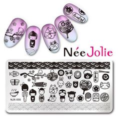 Nail-Art-Stamping-Plate-Rectangle-Stamp-Template-Image-Japan-Style-NJX-005