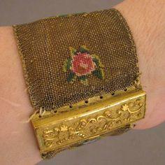 Georgian Petit Point Bracelet w/ Pinchbeck Clasp