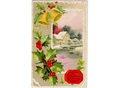 Vintage original 1910's embossed Christmas postcard featuring a snowy house scene, gold bells and Holly with berries. Postcard series 103 C. Measures the standard 3.5 x 5.5 inches. Card is used Greenc