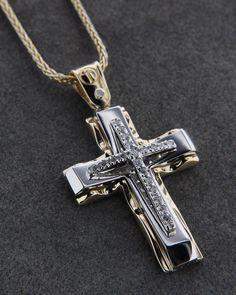 Σταυρός χρυσός Κ14 με Καδένα Catholic Jewelry, Mens Crosses, Good Find, Celtic, Faith, Personalized Items, Stylish, Accessories, Objects