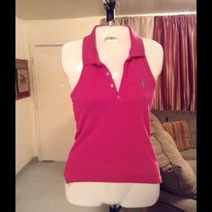 """Ralph Lauren Top Ralph Lauren Top is made of 100% Cotton. The Size is XS. The Color is Pink. This Top has built in support. 4 Button front. Length """"24.5. Laying flat """"13.5. This item is in Good condition, Authentic and from a Smoke And Pet free home. All Offers through the offer button ONLY. I Will not negotiate Price in the comment section. Thank You😃 Ralph Lauren Tops"""