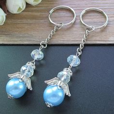 12 pcs/pack, beautiful baptism blue angel keychains are excellent favors for your guests. A special gift they're sure to cherish. - 12 pcs/pack, beautiful baptism blue angel keychains are excellent favors for your guests. Beaded Earrings, Beaded Jewelry, Handmade Jewelry, Beaded Bracelets, Handmade Keychains, Quilling Earrings, Paracord Bracelets, Crochet Earrings, Beaded Angels