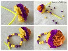 Tissue Paper Flower Bracelet Craft for Kids - Buggy and Buddy Mother's Day Bracelet, Bracelet Crafts, Flower Bracelet, Diy Projects For Kids, Crafts For Kids To Make, Art For Kids, Art Projects, Paper Flowers For Kids, Tissue Paper Flowers
