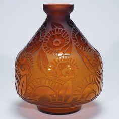 """Lot:444: Catteau acid etched glass vase, floral, 11 1/8"""", Lot Number:444, Starting Bid:$250, Auctioneer:Humler & Nolan, Auction:444: Catteau acid etched glass vase, floral, 11 1/8"""", Date:04:00 AM PT - Nov 4th, 2006"""