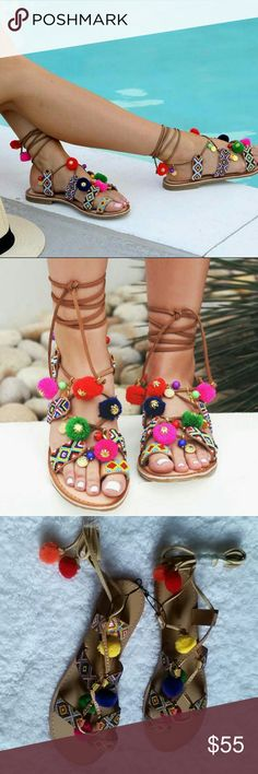 Chinese Laundry Posh Sandals New Fashionable Multi color Cognac sandals perfect for spring, summer. Boho style gladiator lace-up  with colorful beading and pom accents. Chinese Laundry Shoes Sandals