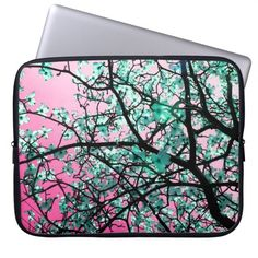 Girly Pink Floral Tree Blossom Laptop Sleeve