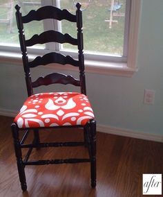 Reupholstery on pinterest chair makeover dining chairs for Replacement dining room chair seats