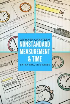 Use these extra practice pages as activities or assessments for your students when teaching nonstandard measurement and telling time to the hour and half hour. They are PERFECTLY aligned to Go Math Chapter 9 (for first grade)- but can be used with any math program. These pages don't require any prep! Click the image to find out more.