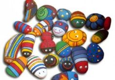 Lots of different painted stones and what you can do with them.