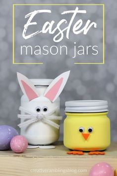 Bunny and Chick painted Easter mason jars. Cute mason jars for Easter, easy to make mason jar crafts for Easter. Easy to make bunny and check painted Easter mason jars, plus more Easter mason jar crafts to decorate your home this Easter. Mason Jar Projects, Mason Jar Crafts, Mason Jar Diy, Foam Crafts, Diy And Crafts, Crafts For Kids, Easter Crafts To Make, Orange Craft, Diy Hanging Shelves