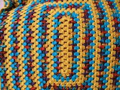 Granny Square Afghan Rainbow Colors Hand by TimeForCrochet on Etsy, $35.00